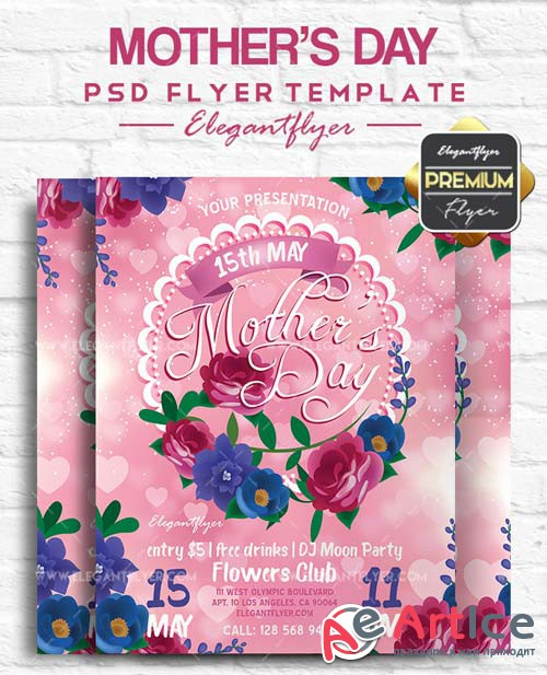 Mother's Day V22 2018 Flyer PSD Template