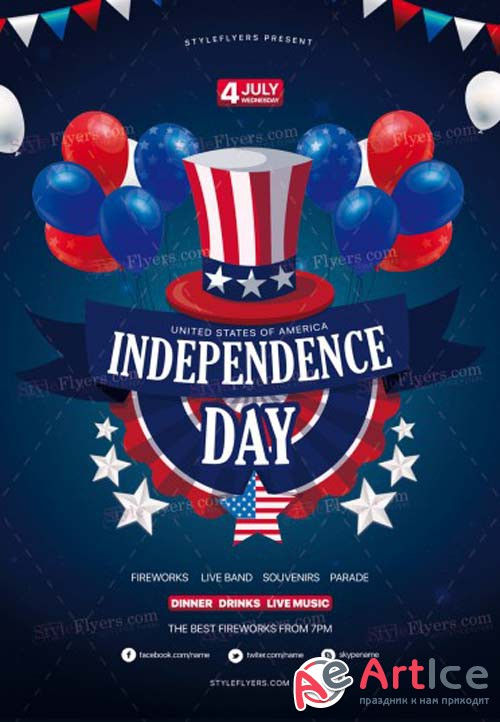 Independence Day V25 2018 PSD Flyer Template