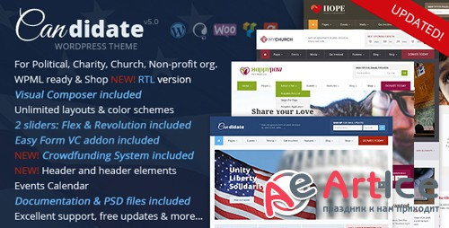 ThemeForest - Candidate v5.0 - Political/Nonprofit/Church WordPress Theme - 10051778 - NULLED