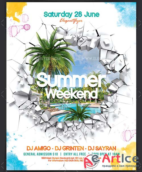 Summer Weekend V03 2018 Flyer PSD Template