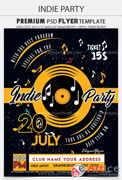 Indie Party V7 2018 Flyer PSD Template