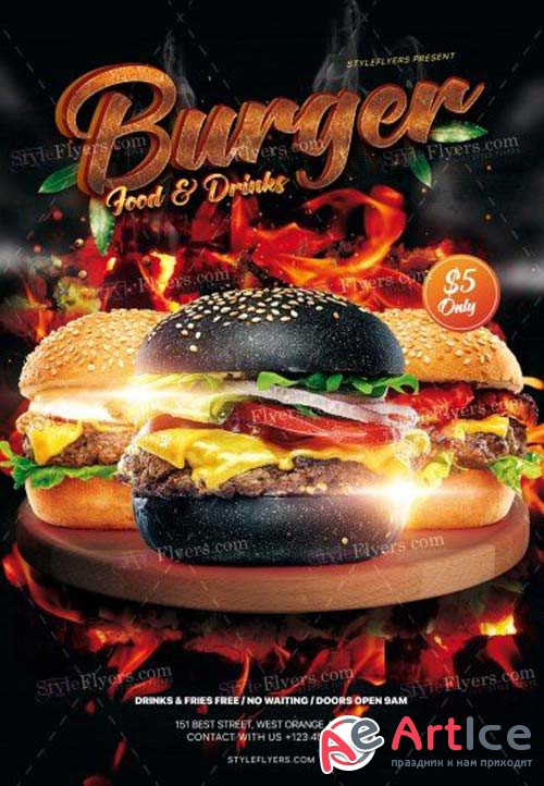 Burger V9 2018 PSD Flyer Template