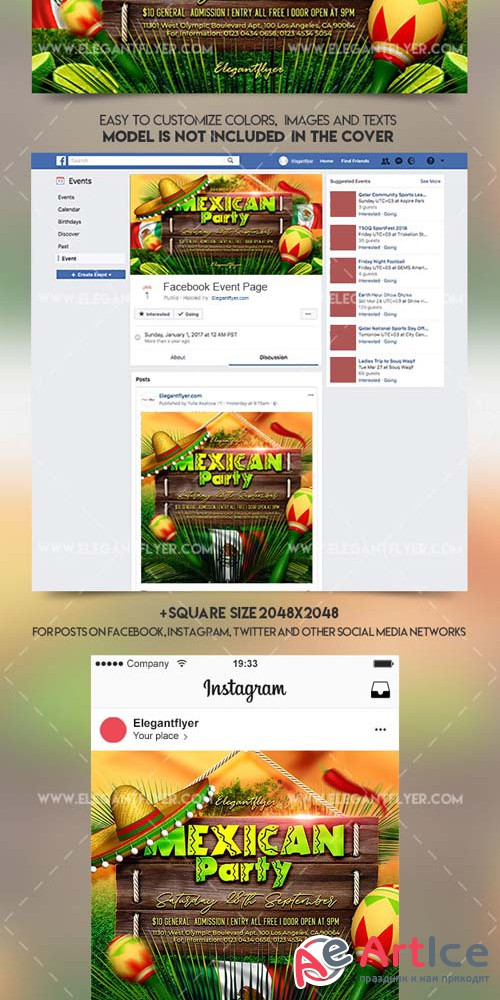 Mexican Party V11 2018 Facebook Event + Instagram template