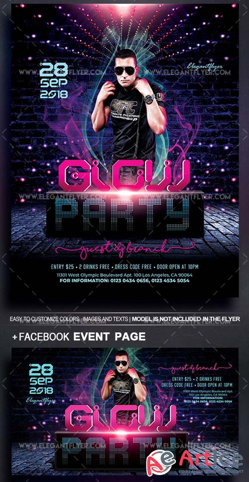 Glow Party V11 2018 Flyer PSD Template