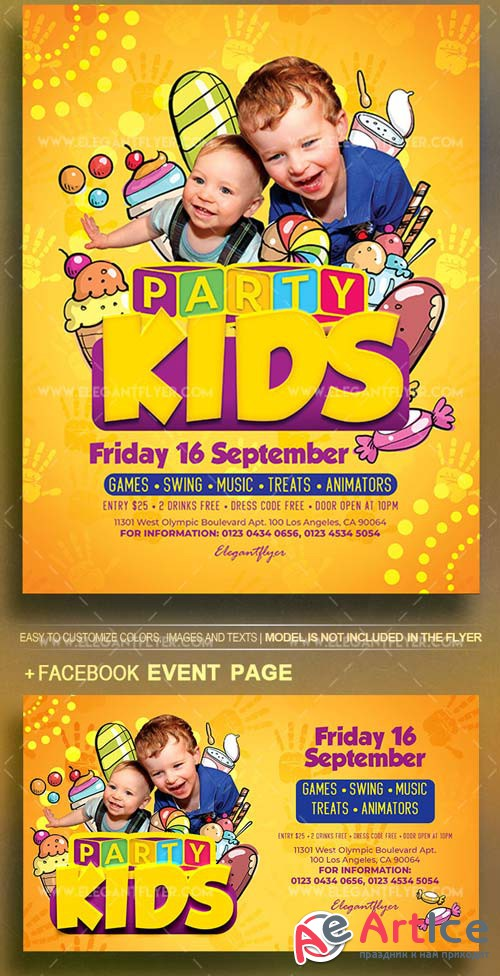 Kids Party V19 2018 Flyer PSD Template