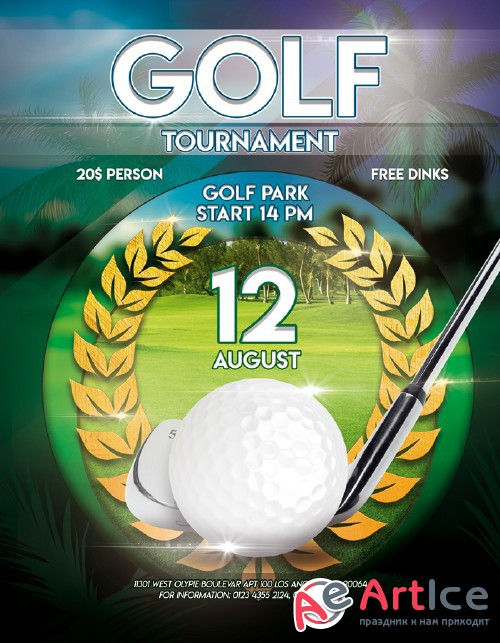 Golf tournament V12 2018 Flyer PSD Template