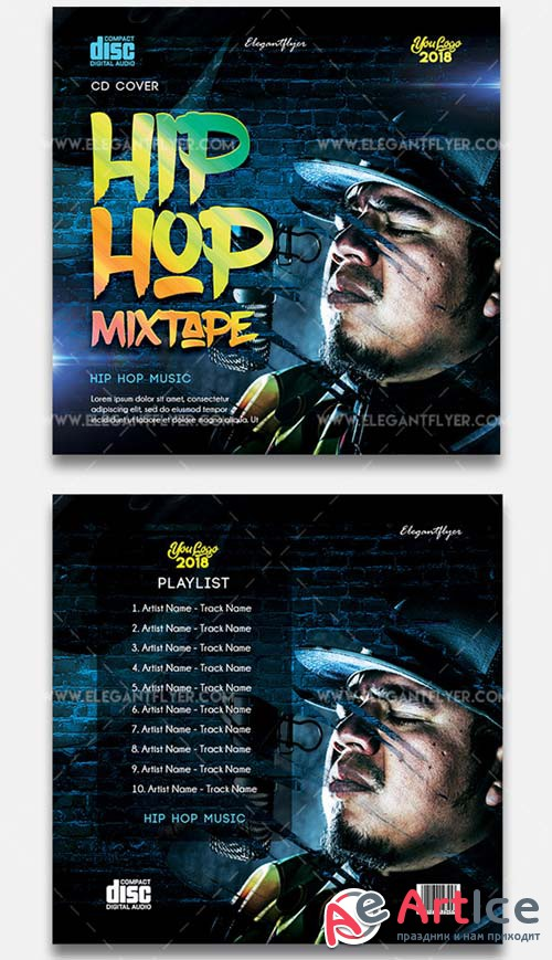 Hip Hop Mixtape V11 2018 CD Cover Template