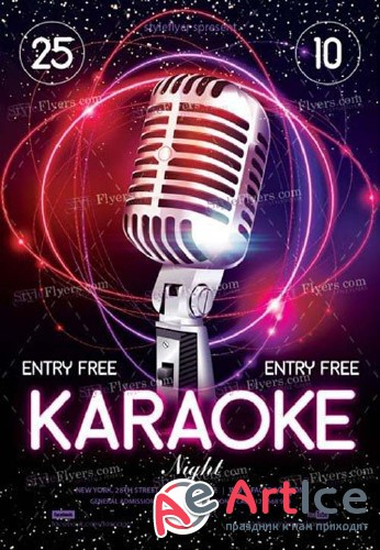 Karaoke Night V49 2018 PSD Flyer Template