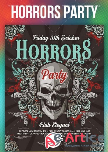 Horrors Party V2 2018 Flyer PSD Template + Instagram template