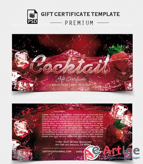 Cocktail Gift Certificate V1 2018 PSD Template