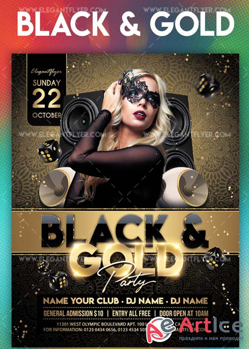 Black and Gold Party V7 2018 Flyer PSD Template