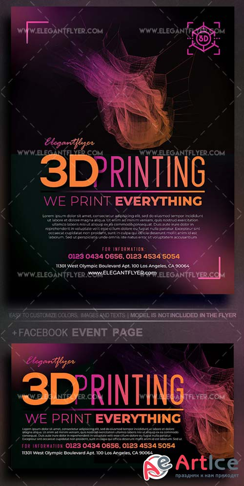 3D Printing V1 2018 Flyer PSD Template