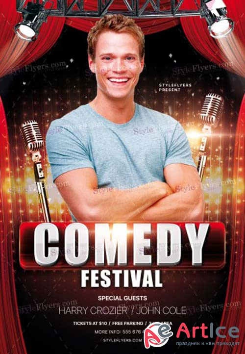 Comedy Festival V8 2018 PSD Flyer Template