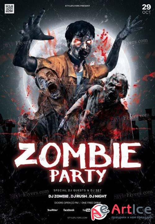 Zombie Party V2 2018 PSD Flyer Template