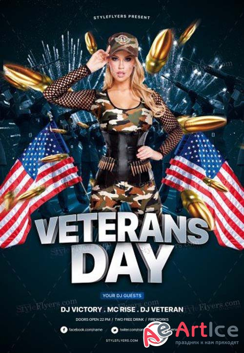 Veterans Day V19 2018 PSD Flyer Template