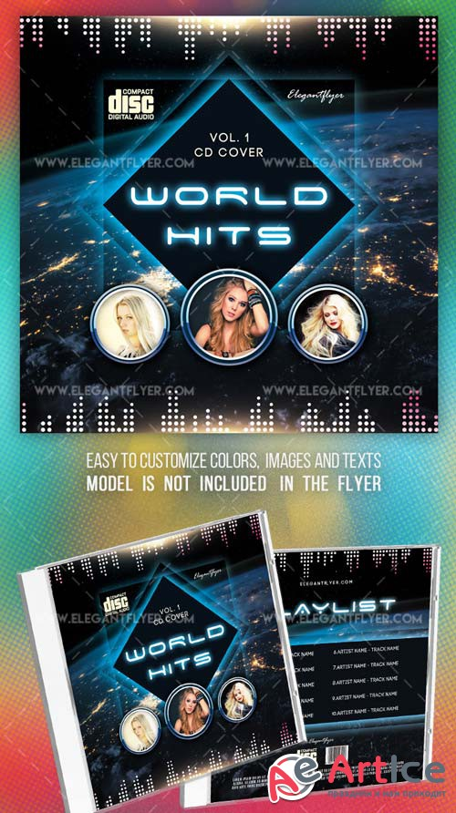 World Hits V2 2018  PSD CD Cover Template