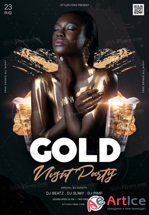 Gold Night Party V11 2018 PSD Flyer Template
