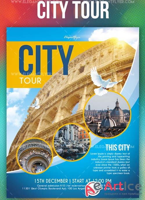 City Tour V1 2018 Flyer PSD Template + Instagram template