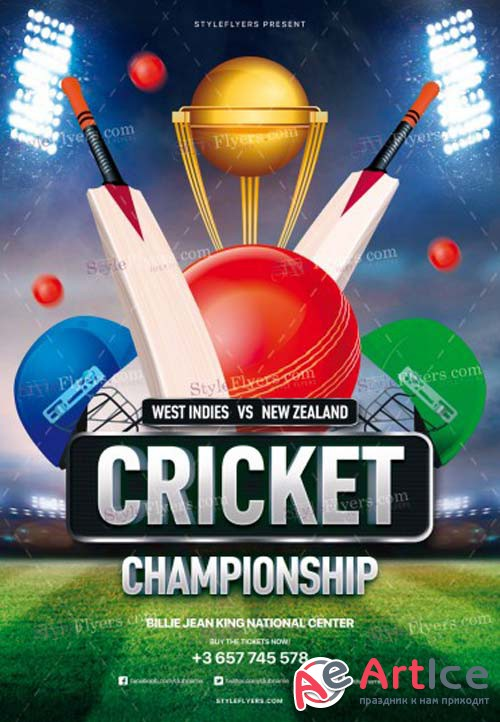 Cricket Championship V3 2018 PSD Flyer Template