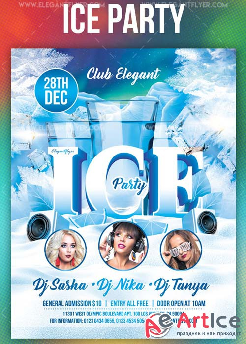 Ice Party V3 2018 Flyer PSD Template + Instagram template