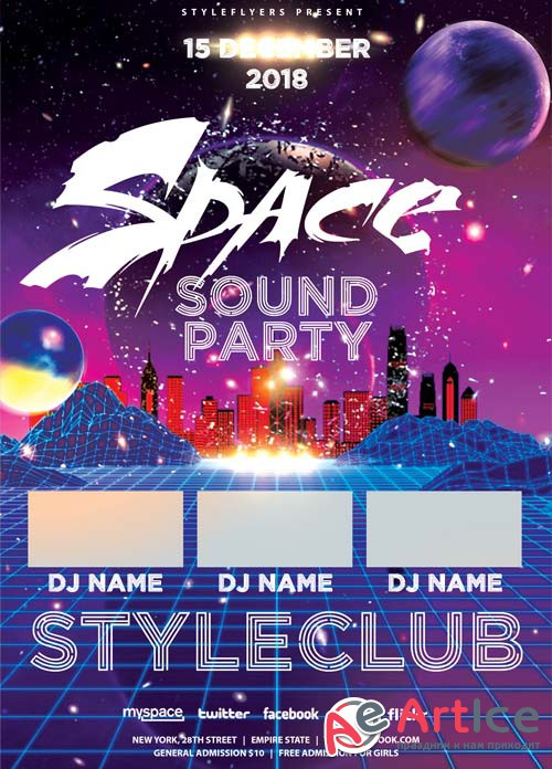 Space Sound Party V1 2018 PSD Flyer Template