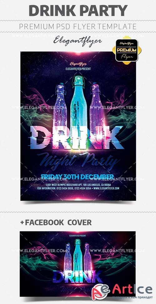 Drink Party Flyer V27 2018 Template in PSD