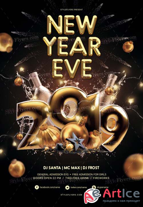 New Year Eve V80 2018 PSD Flyer Template