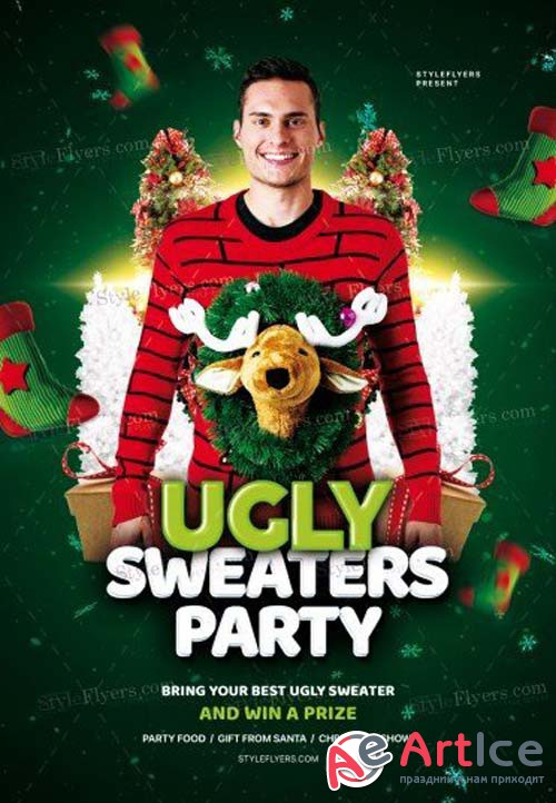 Ugly Sweaters Party V77 2018 PSD Flyer Template