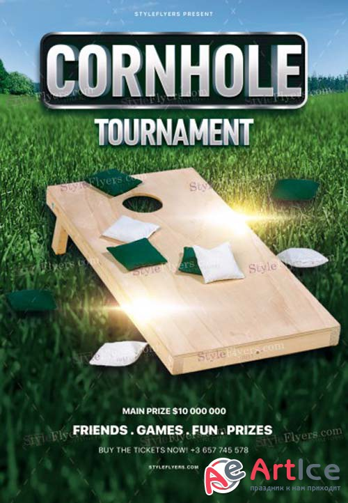 Cornhole Tourmanemt V1 2018 PSD Flyer Template