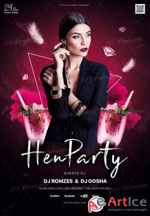 Hen Party V1 2018 PSD Flyer Template