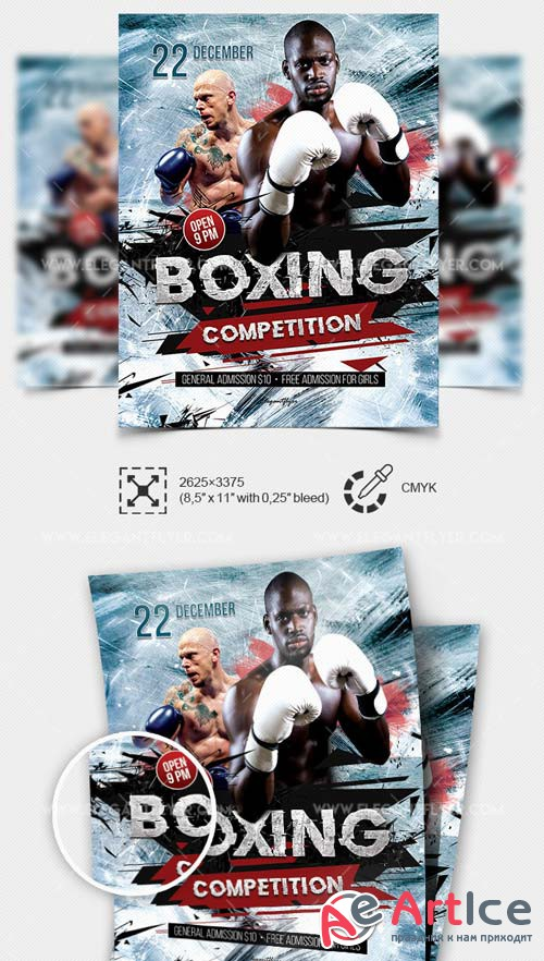 Boxing competition V19 2018 Flyer PSD Template