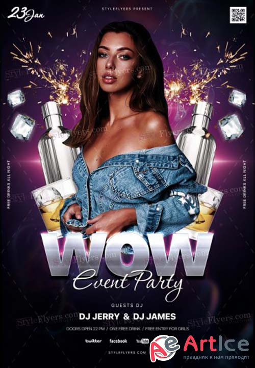 WOW Event Party V1 2018 PSD Flyer Template