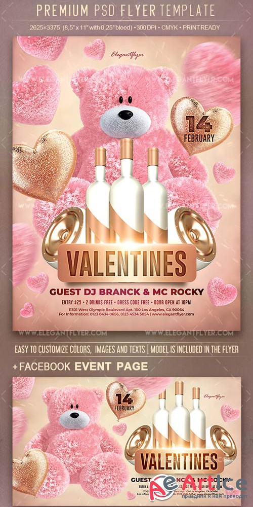Valentines Party V2 2019 Flyer Template PSD + Facebook Cover + Instagram Post