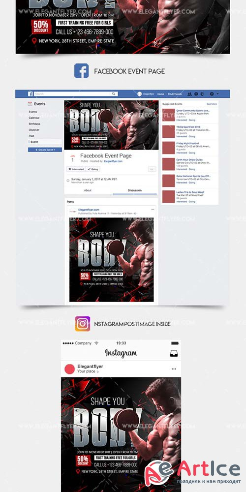 Gym Fitness V1 2019 Facebook Event + Instagram template + Youtube Channel Banner
