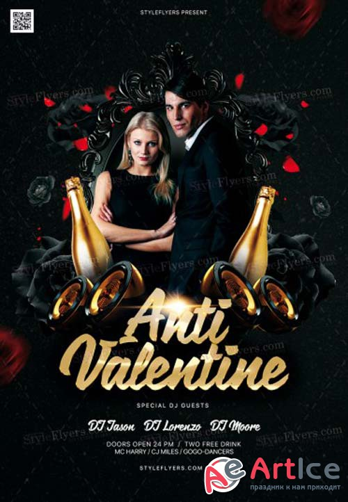 Anti Valentine V1 2019 PSD Flyer Template