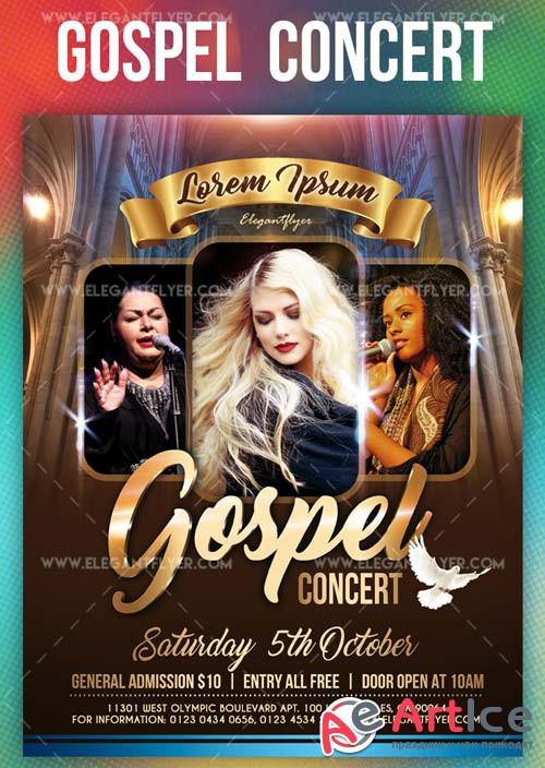 Gospel Concert V1 2019 Flyer Template PSD + Facebook Cover + Instagram Post