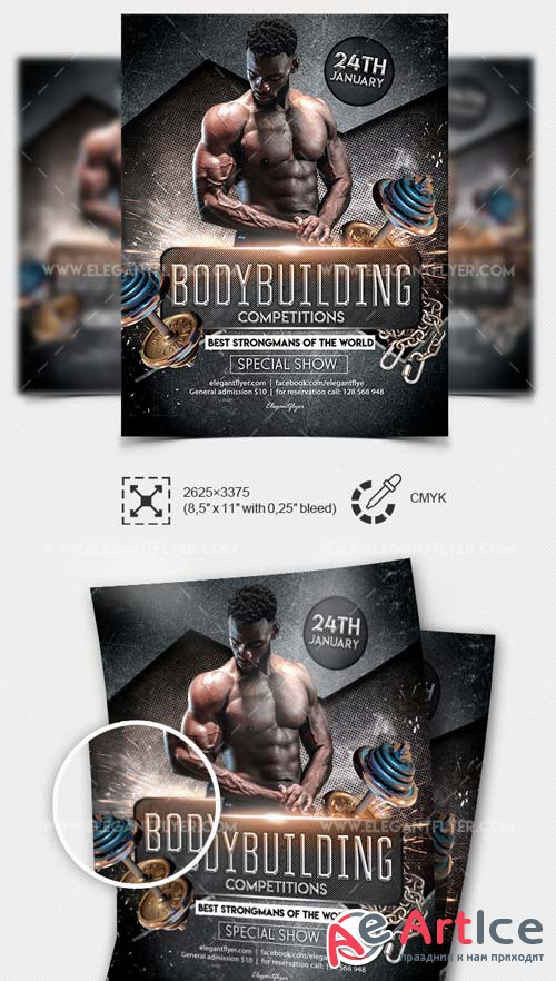 Bodybuilding Competitions V1 2019 Flyer Template PSD