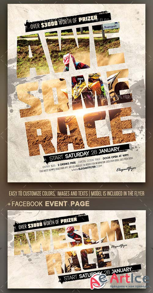 Awesome Race V1 2019 Flyer PSD Template