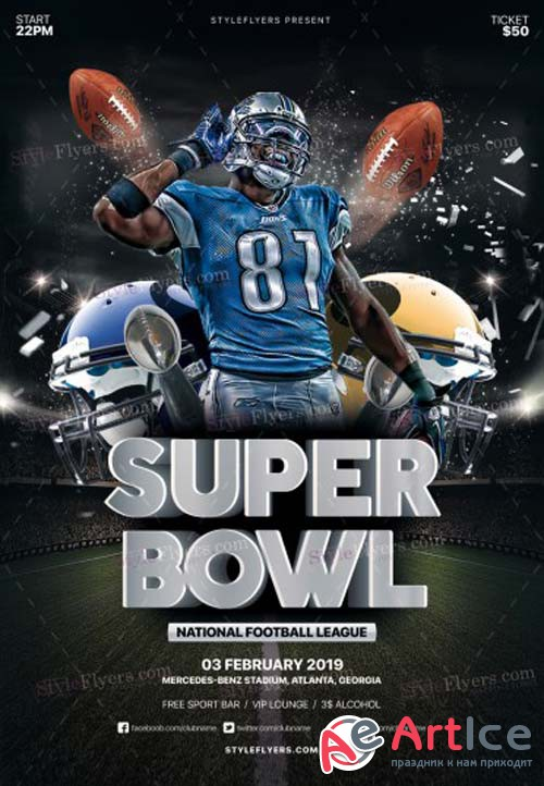 Super Bowl V1 2019  PSD Flyer Template