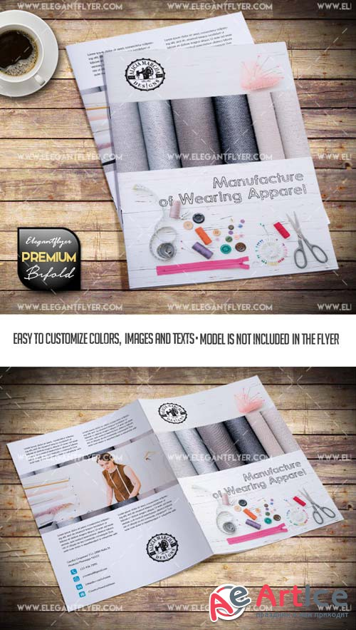 Manufacture of Wearing Apparel V1 2019 Bi-Fold PSD Brochure Template