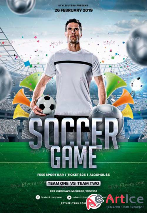 Soccer Game V1 2019 PSD Flyer Template