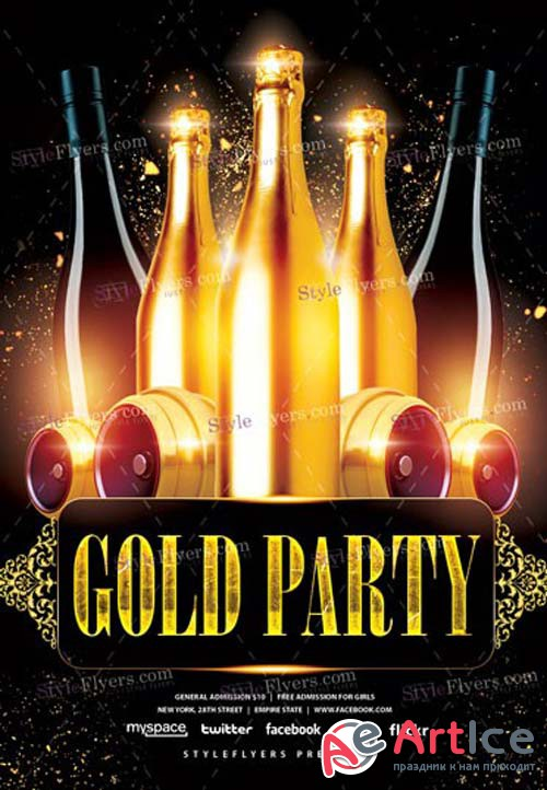 Gold V1 2019 PSD Party Flyer Template