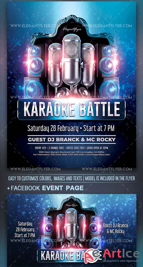 Karaoke Battle V1 2019 PSD Flyer Template + Facebook Cover + Instagram Post