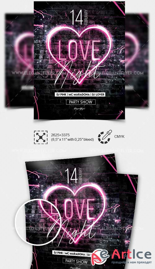 Love Night V1 2019 Flyer Template PSD + Facebook Cover + Instagram Post
