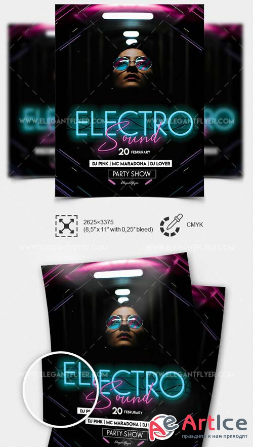 Electro Sound V1 2019 PSD Flyer Template + Facebook Cover + Instagram Post