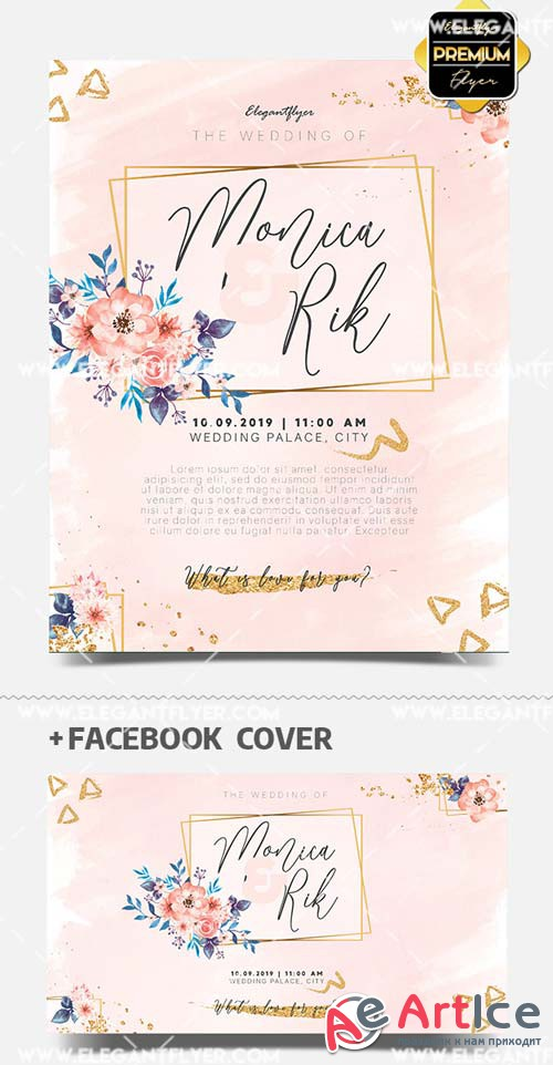 Watercolor Wedding Invitation V1 2019 PSD Flyer Template + Facebook Cover + Instagram Post
