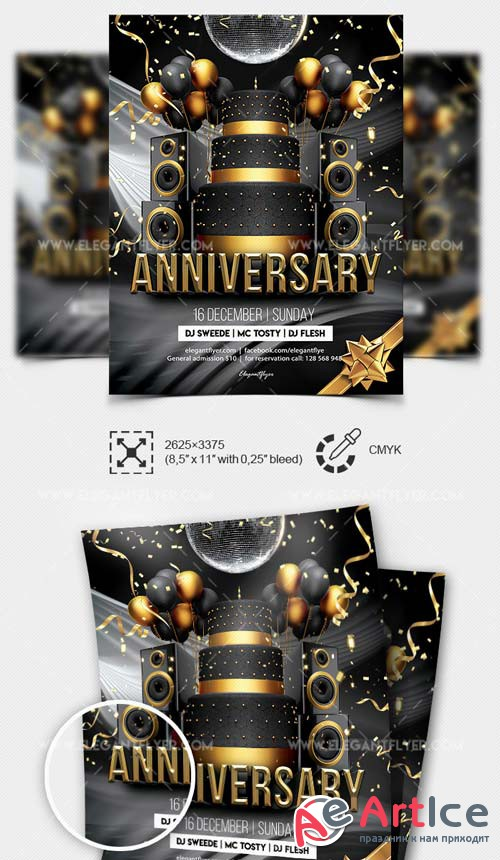 Anniversary Party V1 2019 PSD Flyer Template + Facebook Cover + Instagram Post