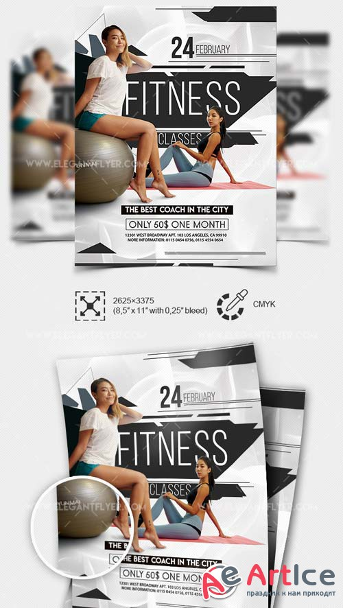 Fitness Classes V1 2019 PSD Flyer Template + Facebook Cover + Instagram Post