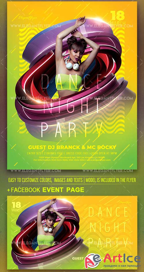 Dance Night Party V1 2019 PSD Flyer Template + Facebook Cover + Instagram Post