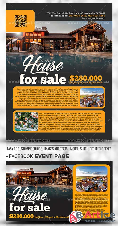 House for Sale V1 2019 PSD Flyer Template + Facebook Cover + Instagram Post